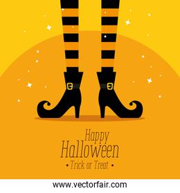 happy halloween card with witch feets