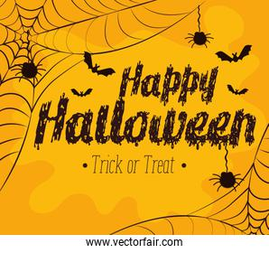 happy halloween card with spider and bats flying
