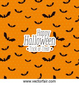 halloween card with bats flying pattern background