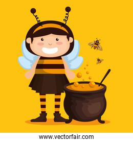 girl dressed up as a little bee