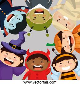 group of children dressed up in halloween