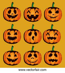 happy halloween card with set pumpkins