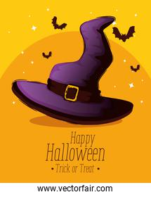 happy halloween card with witch hat