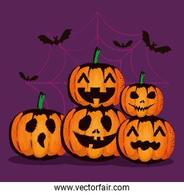 happy halloween card with pumpkins pattern