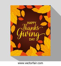 happy thanks giving card with floral decoration