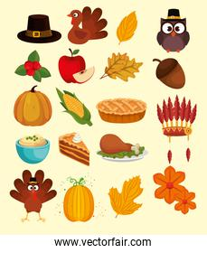happy thanks giving set icons
