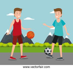 couple of athletes practicing sport