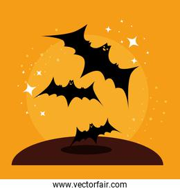 halloween card with bats flying