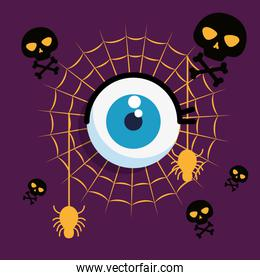 halloween card with spider web and eye human