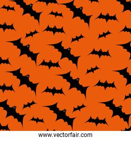 halloween card with bats flying pattern