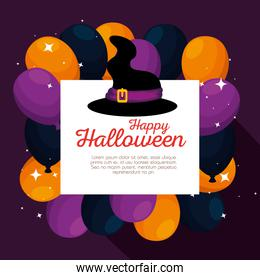 halloween card with witch hat and balloons