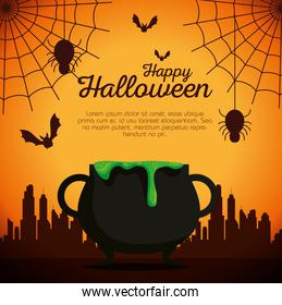 halloween card with cauldron and spiders