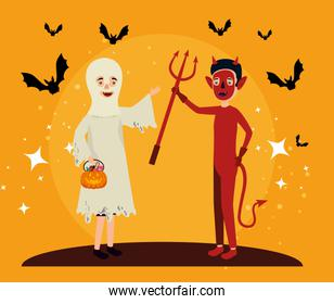 halloween card with ghost disguise and devil