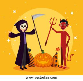 halloween card with death disguise and devil