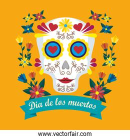 horror mask with flowers to day of the dead