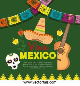 mexican hat with guitar with skull mask to event