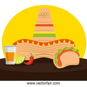 mexican tacos with tequila and hat to celebrate event
