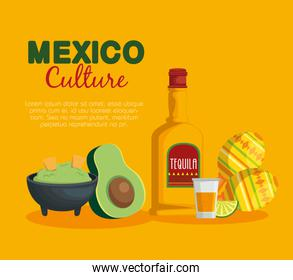 avocado sauce with tequila mexican food and maracas