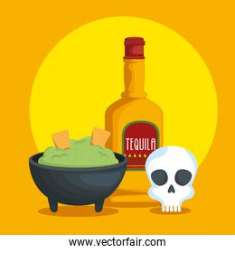 avocado sauce with tequila and skull to celebrate event