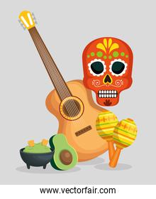 skull with guitar and maracas to celebrate day