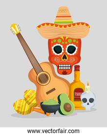skull with hat and guitar to celebrate day of the dead event