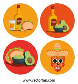 set tequila with avocado sauce and skull to event