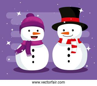 christmas snowmen with hat and scarf to celebrate