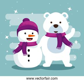 snowman and snow bear with scarf to christmas