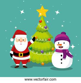 santa claus with pine tree and snowman