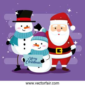 snowmen wearing hat with scarf and santa claus