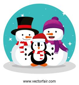 snowmen and penguin wearing hat and scarf design