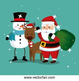 snowman with deer and santa claus with bag