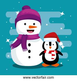 snowman and penguin wearing hat and scarf to christmas