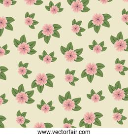 cute floral style with leaves background