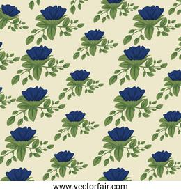 cute floral style with leaves background design