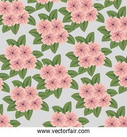 cute flowers plants with leaves style background