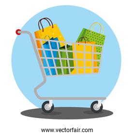 shopping bags inside cart to sale price