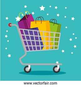 shopping bags inside cart to special sale