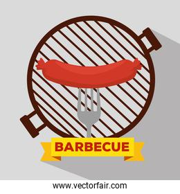 sausage grill with bbq preparation and fork