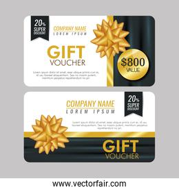 set gift coupon with special sale and ribbon bow