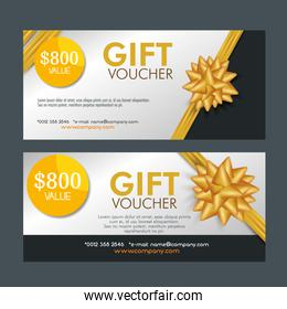 set gift coupon discount with ribbon bow