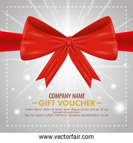gift coupon card with ribbon bow