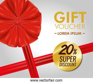 gift coupon discount with ribbon bow
