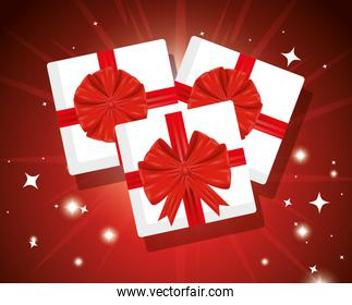 presents gifts box with ribbon bow