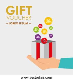 gift present in the hand with special discount