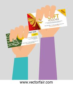 hands with gifts voucher card to special sale