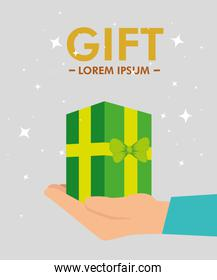 present gift in the hand with special sale