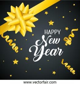 happy new year with stars decoration