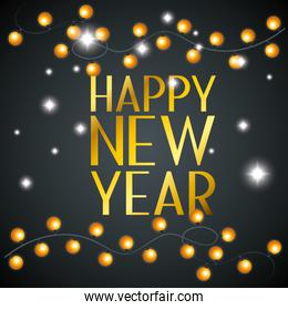happy new year with decoration lights