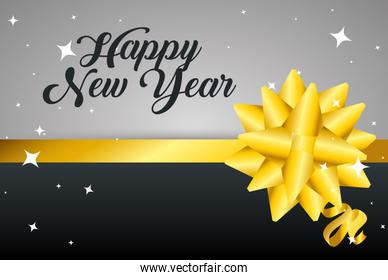 happy new year with ribbon decoration